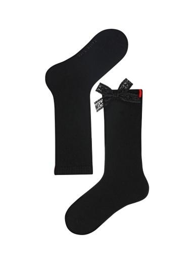 Katia & Bony Family Dizaltı Kurdeleli Çocuk Basic Çorap  Siyah